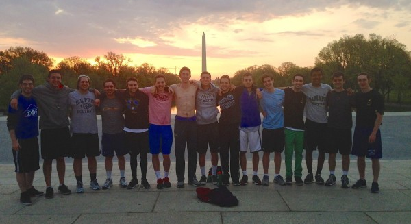 Georgetown SigEp breaking the bubble with a run to the monuments on Georgetown Day.